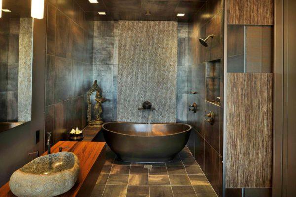 Раковина из натурального камня, ванна изготовлена из исскуственного камня