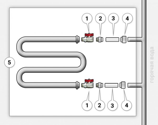 Установка полотенцесушителя через байпас