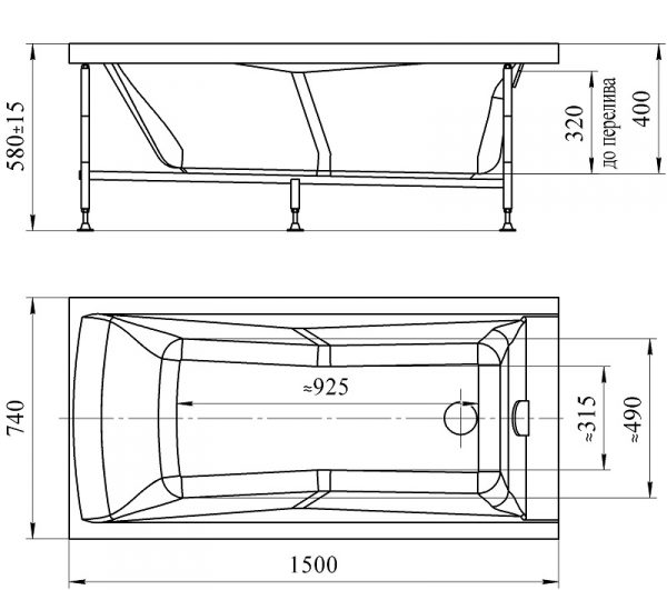 Стандартные размеры ванны