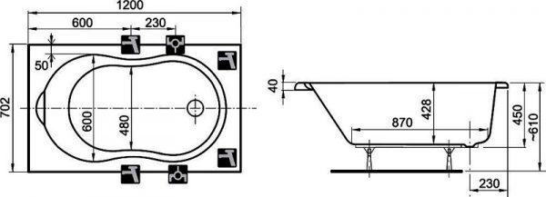Схема ванны длинной 120 см