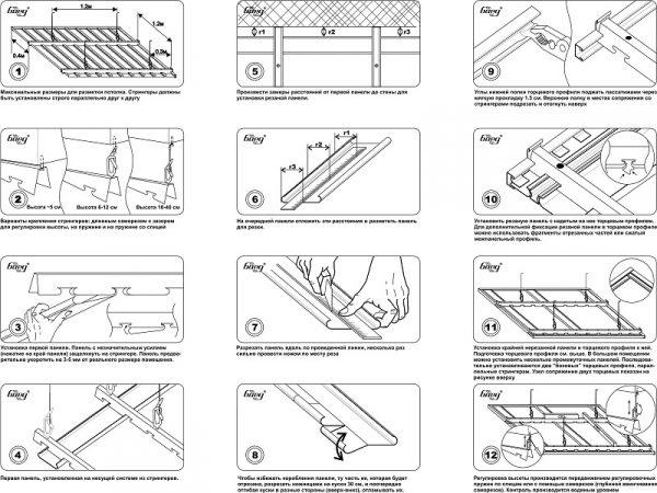 Схема установки первой панели