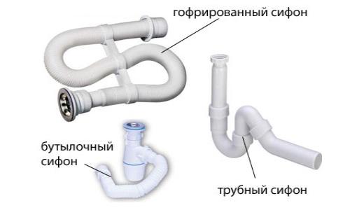 Схема сборки сифона для мойки с переливом