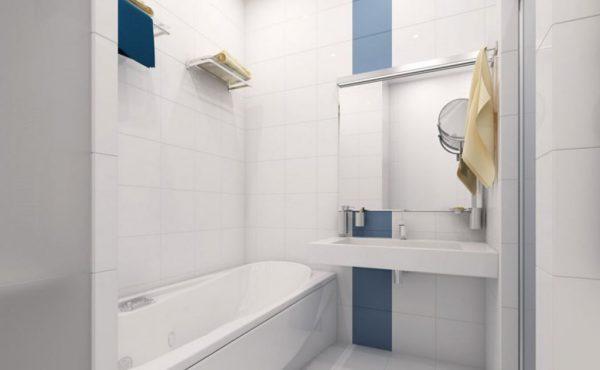 Светлые тона в отделке маленькой ванной комнаты